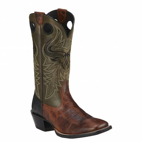 Ariat Mens Wild Ride Square Toe Western Belt - Brush Creek Brown Greener