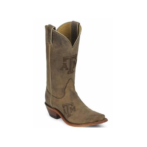 Nocona Boots Ladies Texas A & M Cowhide Branded Cowboy Boots