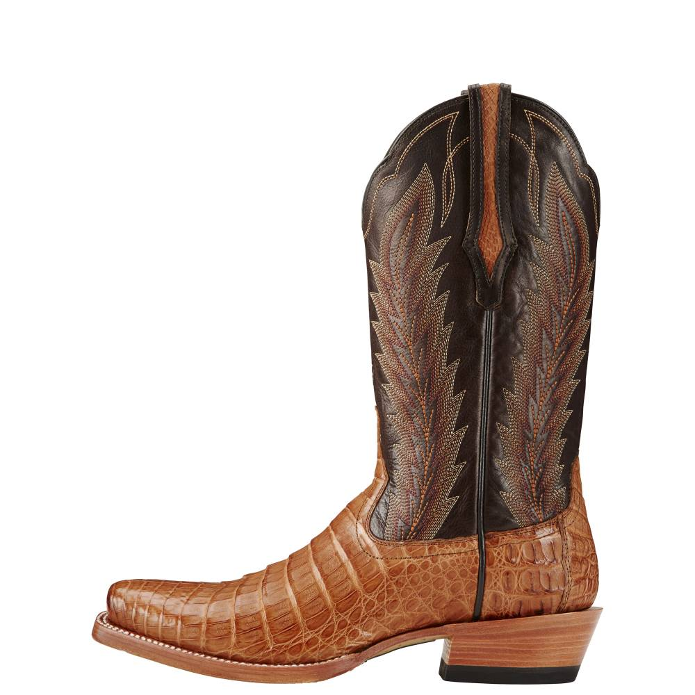 9bd029dd656 Ariat Mens Turnback Caiman Belly - Tan/Chocolate | HorseLoverZ