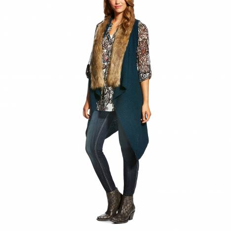 Ariat Ladies Fur Sweater Vest - Nordic Indigo
