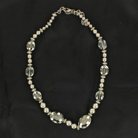 Silver and Clear Beads Necklace