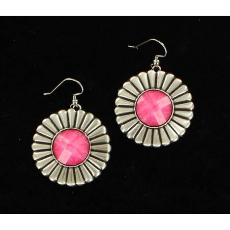 Daisy Style Concho Earrings with Stone
