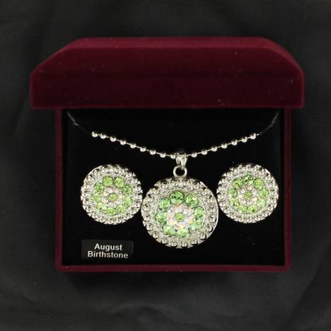 August Birthstone Concho Necklace and Earrings Set