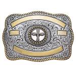 Crumrine Rectangle Two-Tone Cross Trophy Buckle
