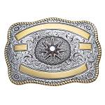 Crumrine Rectangle Two-Tone Rowel Trophy Buckle