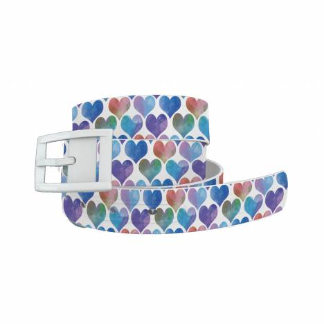 C4 Belt Watercolor Hearts Blue Belt with White Buckle