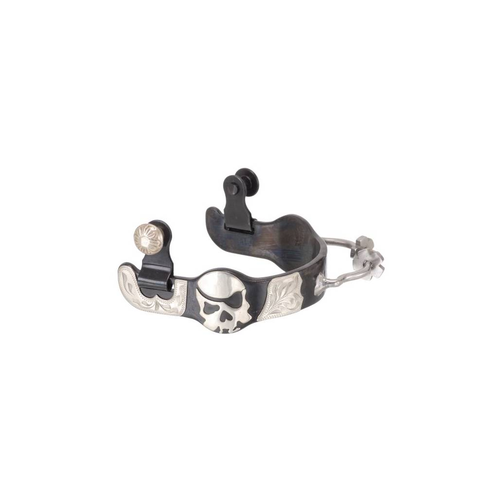 Black Steel Ladies Bumper Spurs with Engraved Silver Skull Overlay