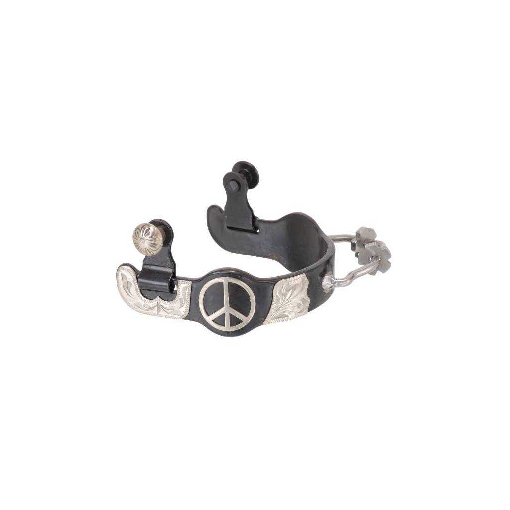 Black Steel Ladies Bumper Spurs with Engraved Silver Peace Sign Overlay