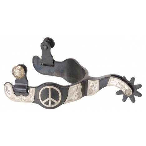 Black Steel Ladies Spurs with Engraved Silver Peace Sign Overlay