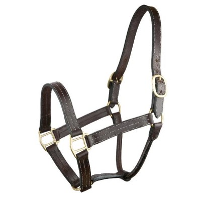Gatsby Triple Stitched Leather Halter -Brown - Horse