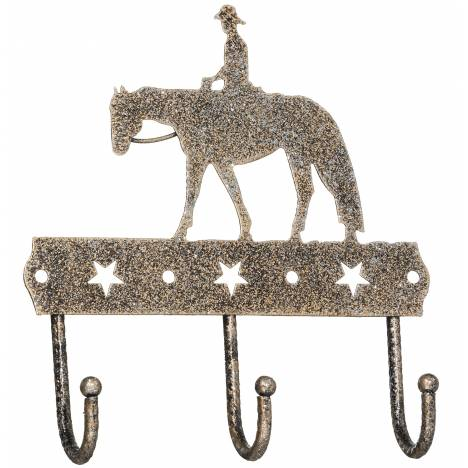 Tough-1 3 Hook Rack With Equine Motif And Glitter Finish - Western Pleasure