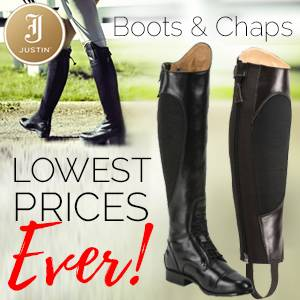 Justin English Boots & Chaps<br>Lowest Prices Ever!