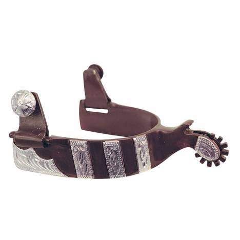 Direct Equine Men's Spur Antique Brown with Silver Bar Overlay