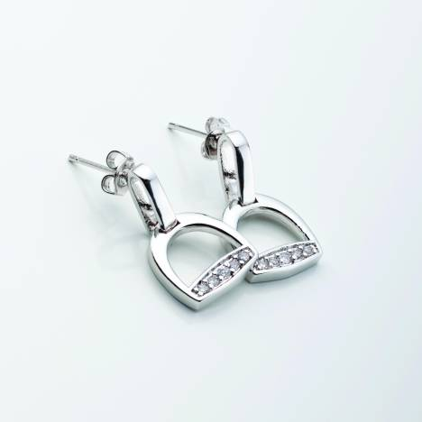 Stirrups with Clear CZ Rhinestones Post Earrings