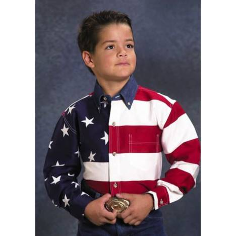 Roper Boys Cotton American Flag Western Shirt