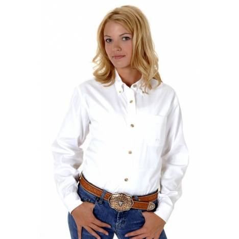 Roper Ladies Button Down Collar Western Shirt - White