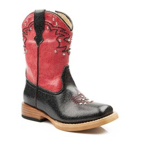 Roper Infant Faux Leather Bling Square Toe Boots - Black/Red