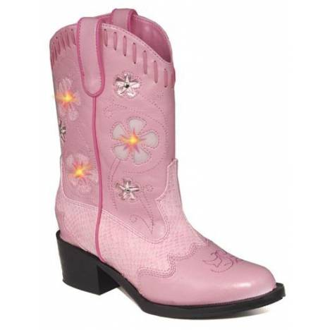 Roper Girls Faux Leather Western Lights Boot - Pink