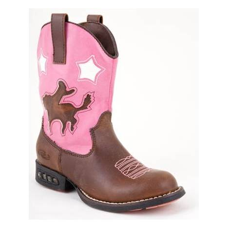 Roper Kids Faux Leather Bronco Western Lights Boots - Brown/Pink
