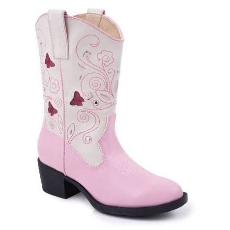 Roper Girls Faux Leather Butterfly Lights Boots