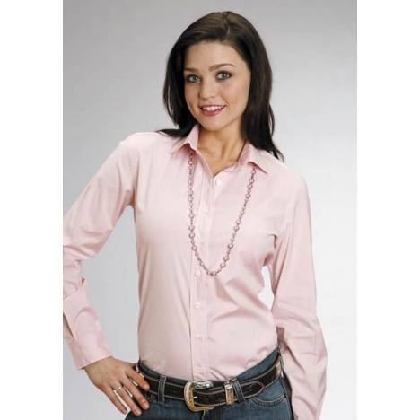 Stetson Ladies Solid Long Sleeve Shirt - Pink