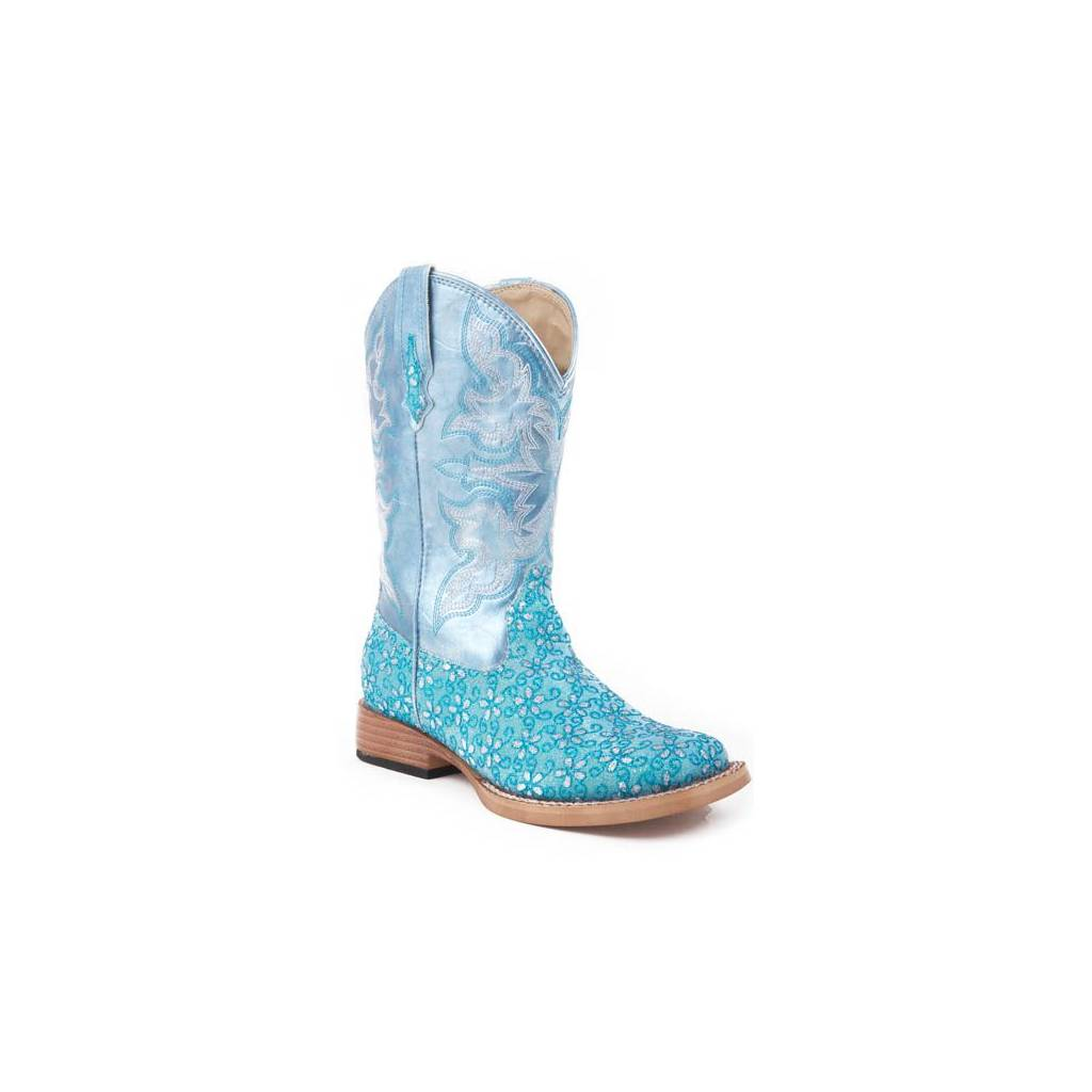 Roper Kids Faux Leather Glitter Floral Print Boots - Green
