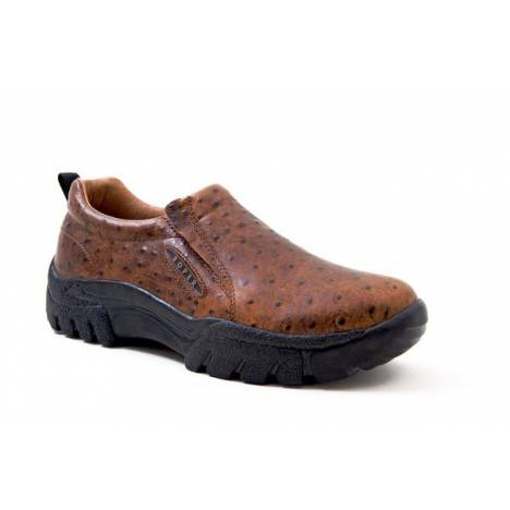 Roper Mens Leather Faux Ostrich Print Slip On Shoes - Tan