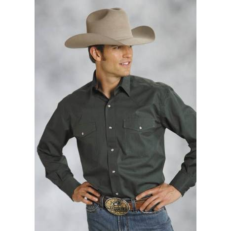 Roper Mens Poplin Shirt Long Sleeve Shirt - Green