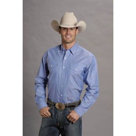 Stetson Mens Pinpoint Oxford Long Sleeve Shirt - Blue