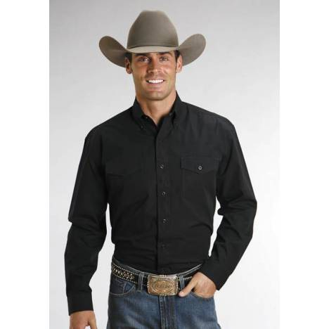 Stetson Mens Cotton Long Sleeve Shirt - Black
