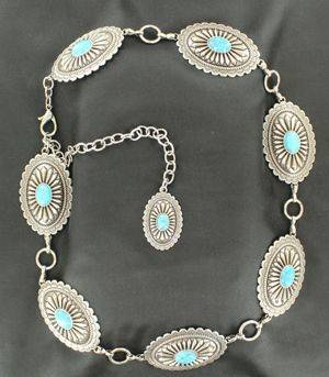 ARIAT Silver Womens Concho Chain Turquoise Belt