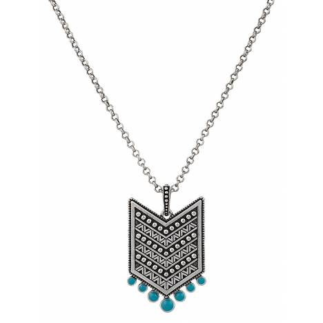 Rock 47 Points of Aztec Silver Tone Fletched Necklace