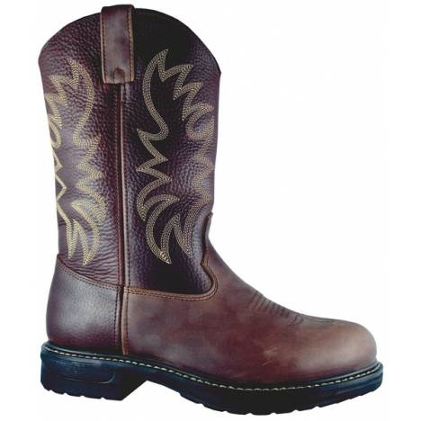 Smoky Mountain Mens Buffalo Steel-Toe Leather Wellington Work Boot