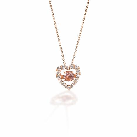 Kelly Herd Clear & Pink Heart Pendant - Rose Gold